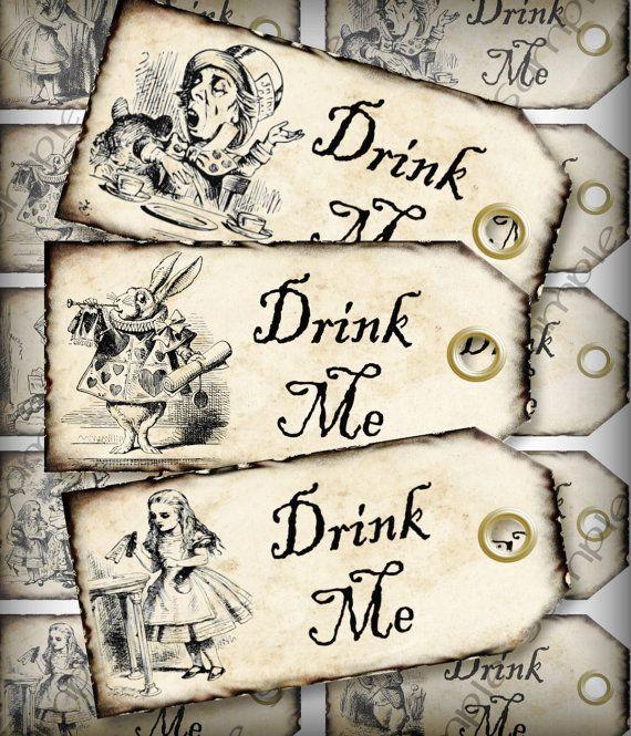 Drink Me Alice in Wonderland Wedding Favor Tags Light Grunge Party Favor Tags Digital Collage Sheet DIY Printable Download #DIY WEddings #Alice in Wonderland