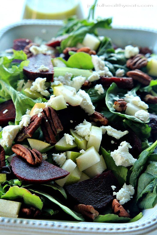 Goat Cheese Asian Pear & Beet Salad with Honey Mustard Vinaigrette   www.joyfulhealthyeats.com #glutenfree #vegetarian #30minutemeal