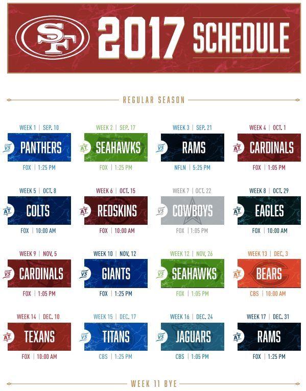 49ers 2017 Schedule