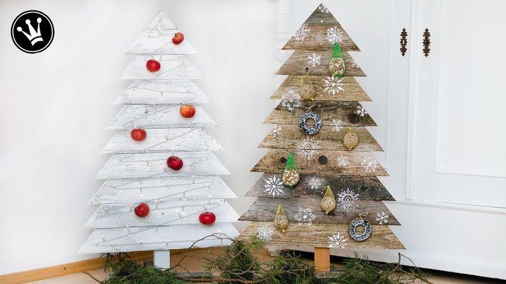 diy  weihnachtsdeko selber machen tannenbaum aus holz