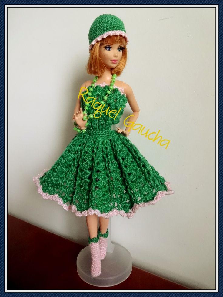 #Cléa5 #Crochet #Barbie #Doll #Muñeca #Vestido #Dress #Chapéu #Meias #Botas #RaquelGaucha
