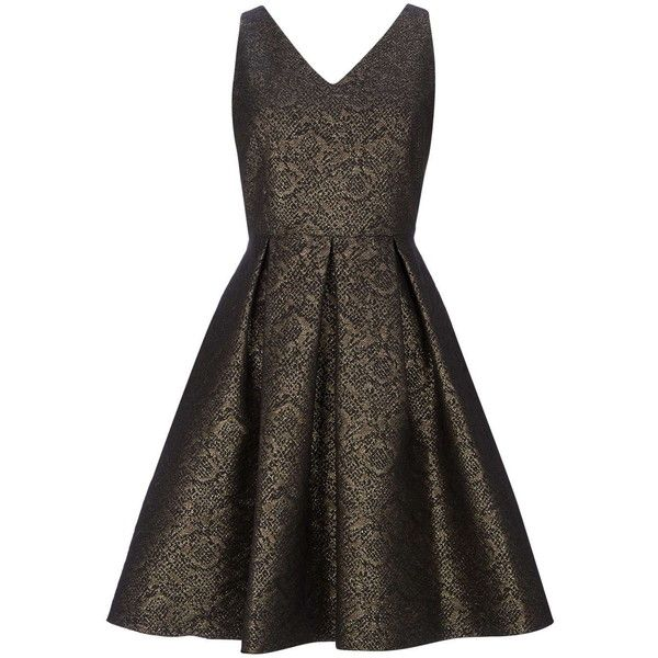 Petite Gold Jacquard Prom Dress (2 205 UAH) ❤ liked on Polyvore featuring dresses, gold, petite, metallic cocktail dress, holiday cocktail dresses, holiday dresses, petite evening dresses and gold dress