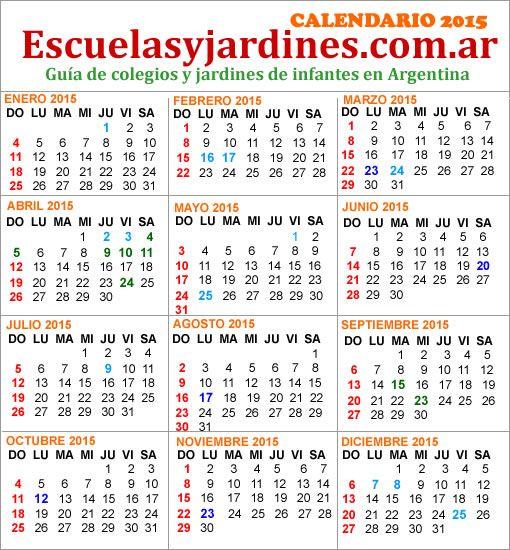 Feriados 2015 Argentina: almanaque para imprimir