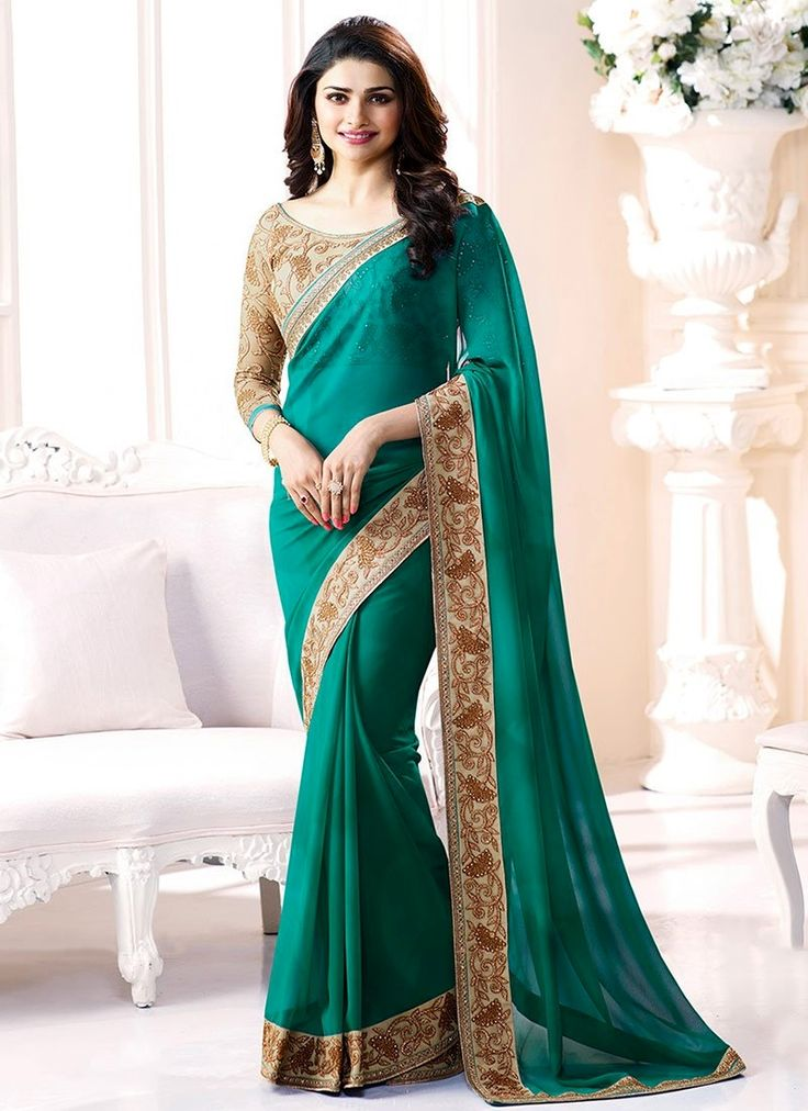 Buy latest style of bollywood sarees online shopping. Grab this Prachi Desai embroidered and patch border work classic designer saree for festival and party.