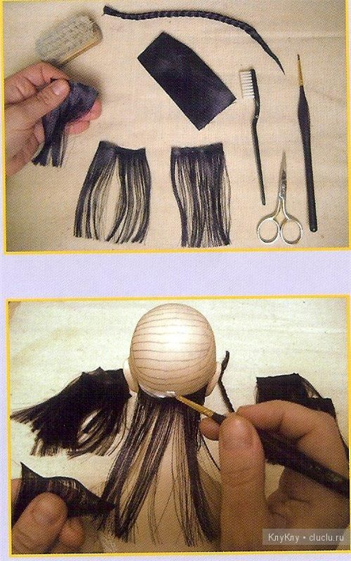 Hair for dolls of satin ribbons (♥♥) May could make own wig like this?