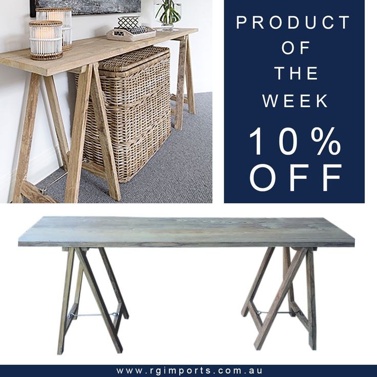 Introducing our Recycled Teak Trestle Table!  To celebrate the arrival of this lovely new piece - perfect as a side table or office desk - we would love to offer you 10% OFF this table for seven days!!!  Simply enter code: TRESTLE10 at checkout to receive your discount at www.rgimports.com.au.  Offer valid until midnight 26.6.16.