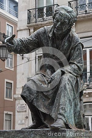 Statue of poet António Ribeiro, the Chiado, in the Chiado Square, Lisbon, Portugal