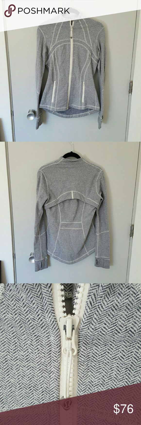 Lululemon athletica Define Jacket Lululemon athletica Define Jacket in white and gray Chevron knit pattern. Great condition! Only flaw is a tiny bit of chipping on the zipper as shown in the photo. lululemon athletica Jackets & Coats Utility Jackets