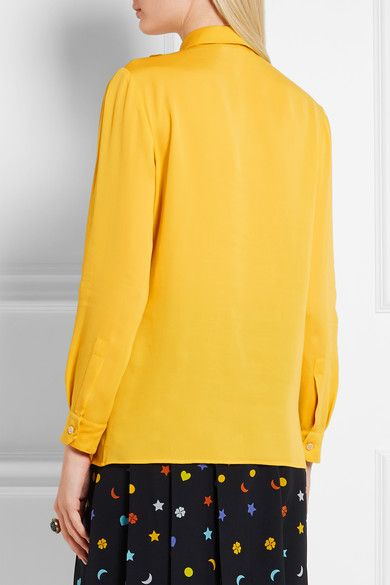 Gucci - Ruffled Silk Shirt - Mustard - IT38