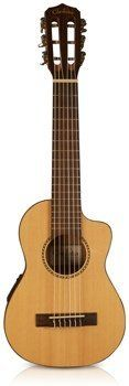 Cordoba Guilele CE 6-String Acoustic Electric Nylon Guitar/Ukulele Hybrid by Cordoba Guitars. $249.99. Introducing the new groundbreaking Guilele CE from Cordoba Guitars! A small guitar with a ukulele sound, feel and size. Considered to be a true travel guitar, this small six string is light, portable and a great way for guitar players to segue into the ukulele world. The Cordoba Guilele CE features a soft cutaway and Cordoba 2Band piezo pickup. It's tuned up a 4th ...
