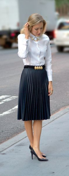 ralph lauren tailored shirt tucked into a skirt - Google Search