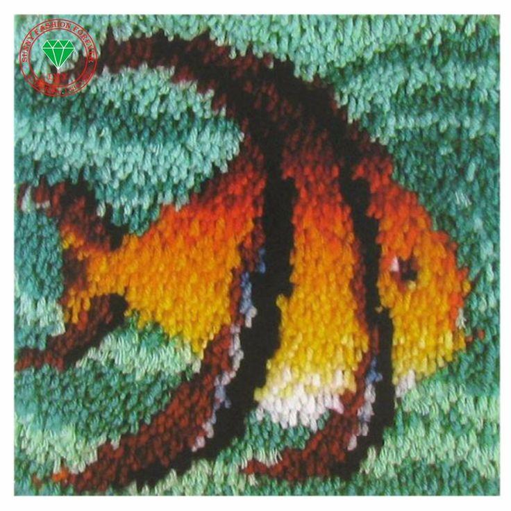 Needlework Diy Pillowcase sets embroidery stitch thread Latch hook rug kits crochet hooks Cross-stitch cushion Pillowcase Fish #Affiliate