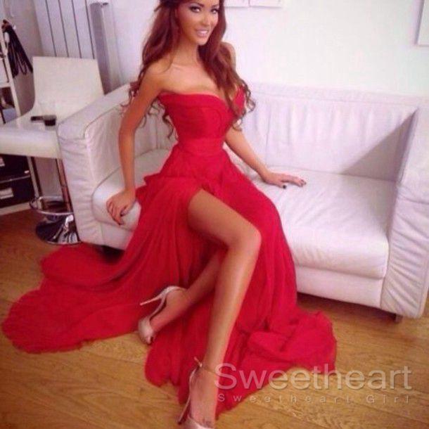 Charming Sweetheart Long Red Chiffon Prom Dresses Evening Dresses ...
