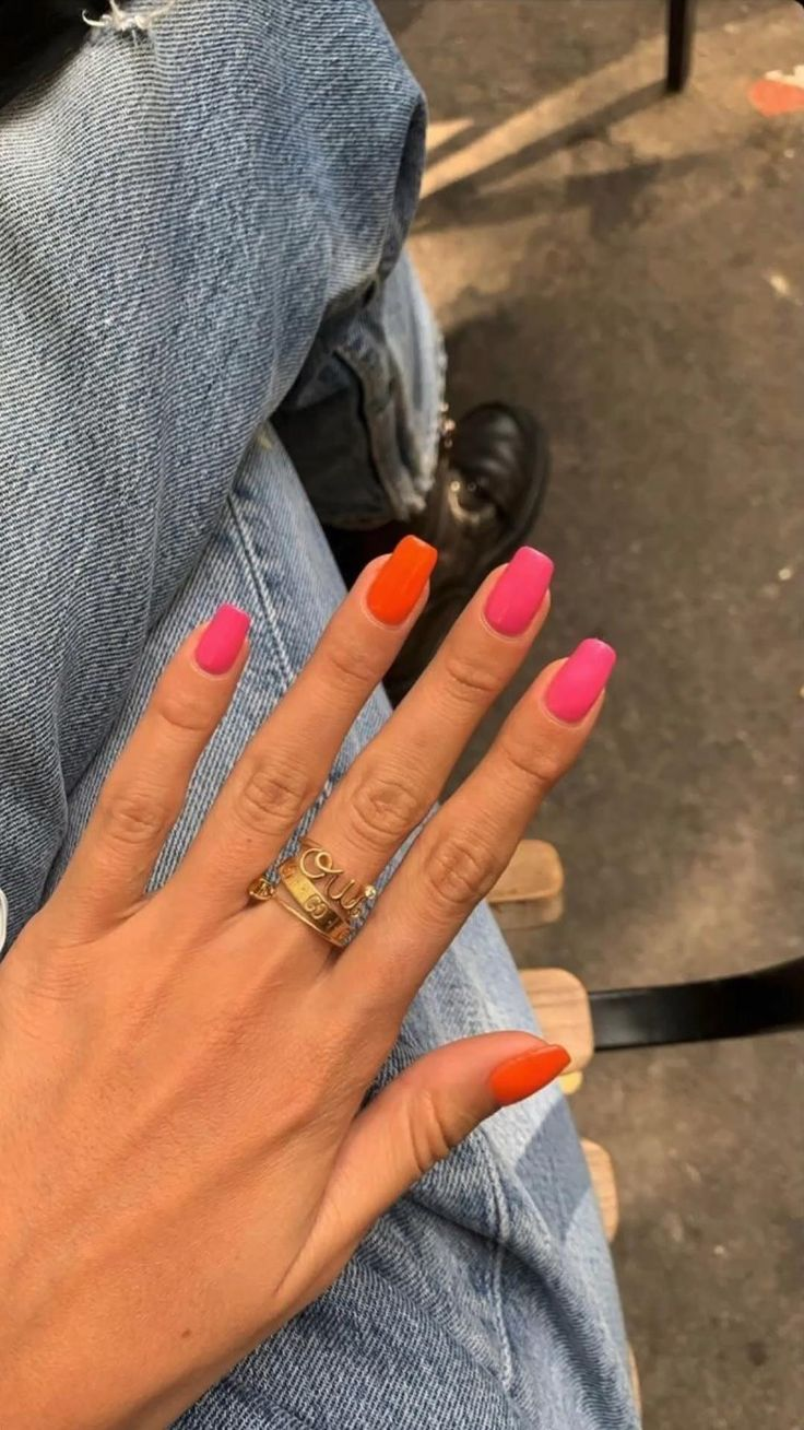Pink and Orange nails inspiration: An immersive guide by Shop Indie Dream