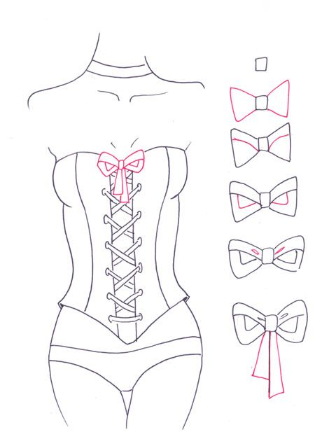 How to draw corset step 7