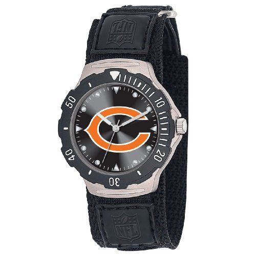 NFL Men's NFL-AGV-CHI Agent Series Chicago Bears Velcro Watch Game Time. $24.99. Adjustable Nylon strap with Velcro. Rotating Bezel with Quartz Accuracy, Shock Resistant. Water Resistant Depth to 30 Meters. Stainless Steel Case back. Limited Lifetime Warranty