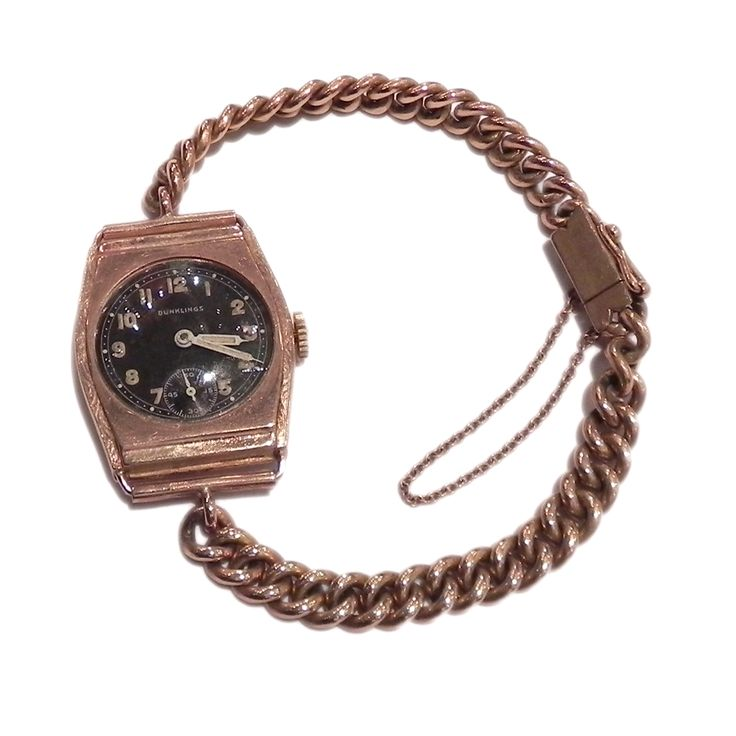15ct pink gold Dunklings wrist watch. Visit us at www.klepners.com.au