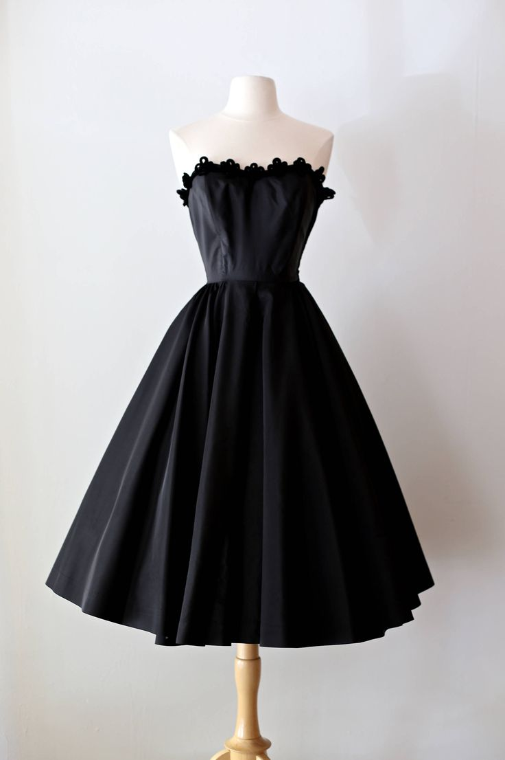 Vintage 1950's Black Magic Strapless Cocktail Dress With Full Skirt Velvet Trim by xtabayvintage on Etsy
