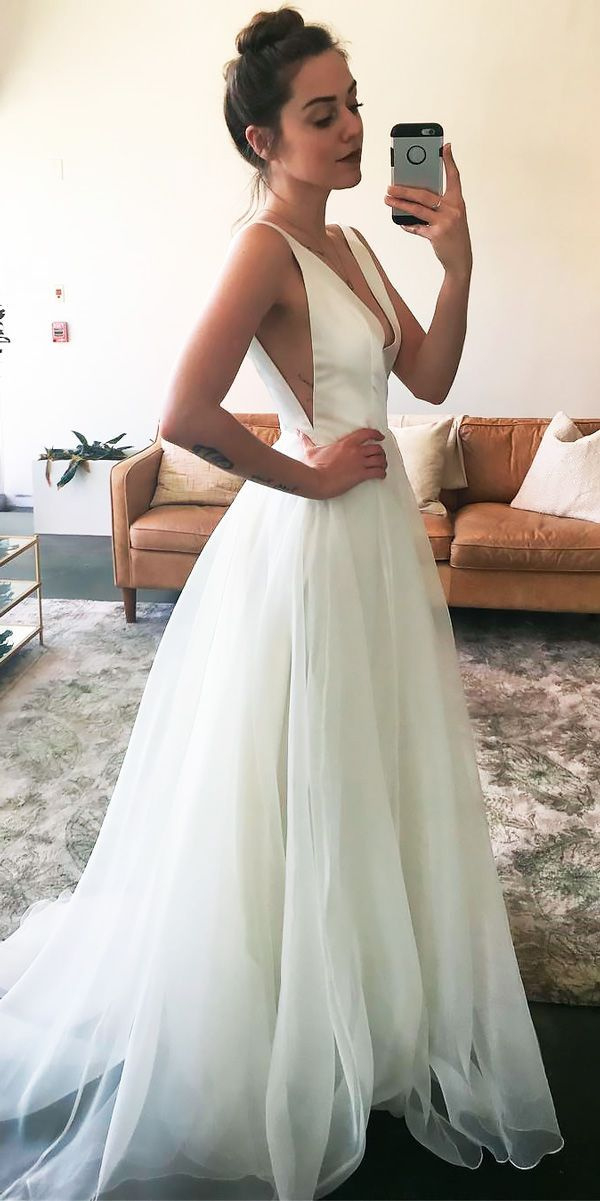 33 Simple Wedding Dresses For Elegant Brides ❤ See more: http://www.weddingforward.com/simple-wedding-dresses/ #wedding