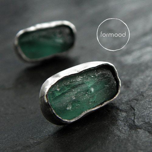 earrings (raw sterling silver, afgan glass)