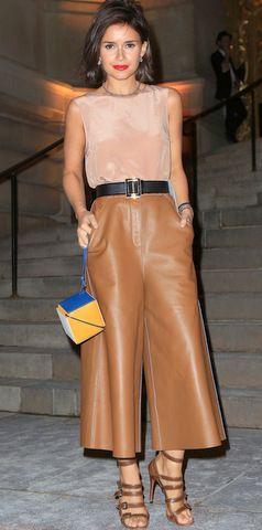 Miroslava  wearing Elie Saab leather culottes <3