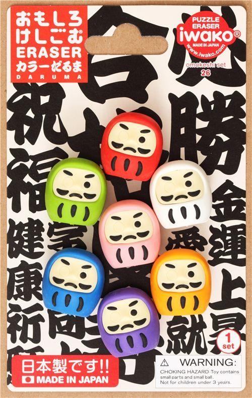 Daruma doll Iwako erasers set 7 pieces from Japan