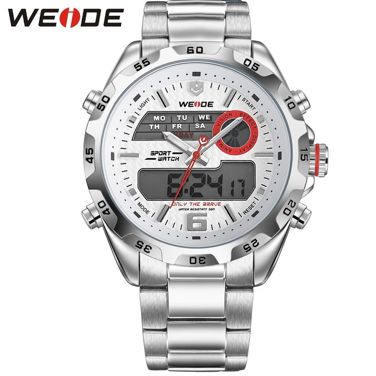 62.19$  Buy here - http://alit7p.worldwells.pw/go.php?t=32616312190 - WEIDE Big Dial Sport Watches For Men Waterproof 30m Digital Quartz Date Alarm Military Uhren Relogio Masculino Mens Wristwatches 62.19$