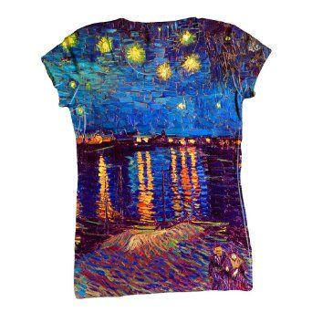 "Amazon.com: ArtsyClothingCo- Vincent Van Gogh - ""The Starry Ni...-Tagless- Ladies Shirt 1479: Clothing"