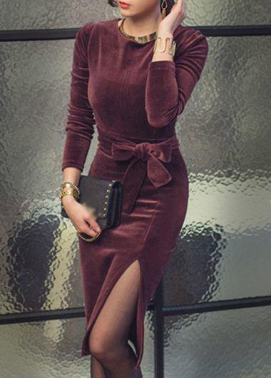 Purple Slit Design Long Sleeve Round Neck Dress on sale only US$36.32 now, buy cheap Purple Slit Design Long Sleeve Round Neck Dress at lulugal.com