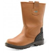 Click Premium Steel Toe Cap Leather Rigger Boots Tan