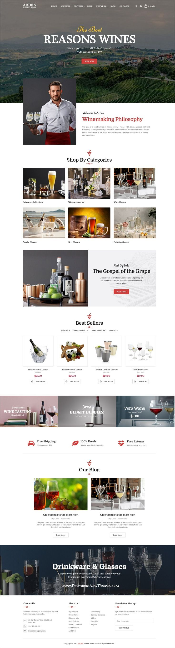 Arden is clean and modern design 5in1 responsive WooCommerce #WordPress theme for  brewery, liquor and #wine supplies store #eCommerce website click on theimage to download now.