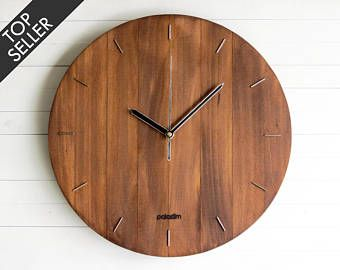 Wall Clock Steampunk Modern Wooden Living Room Decor Oval Round Office Gift