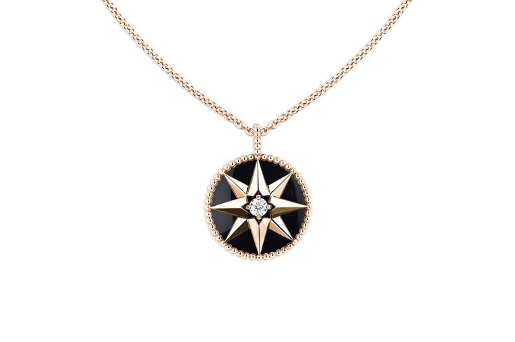 Rose des vents medallion necklace, 18k pink gold, diamond and onyx -  Dior