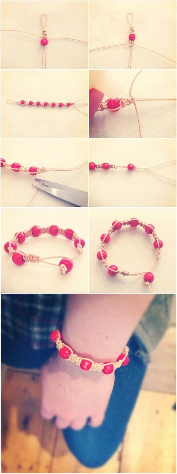 DIY macrame bead bracelet