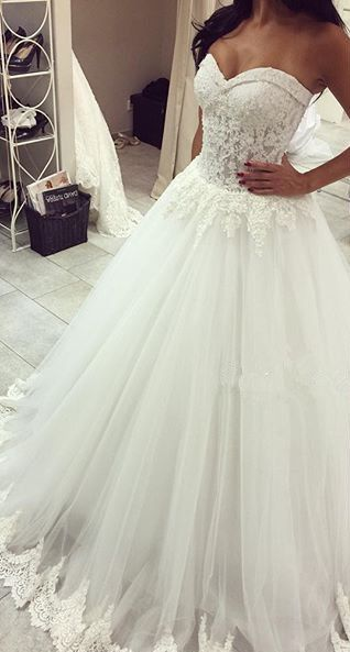 Romantic Tulle Lace Appliques Princess Wedding Dress 2016 Sweetheart_High Quality Wedding & Evening Prom Dresses at Factory Price-27DRESS.COM