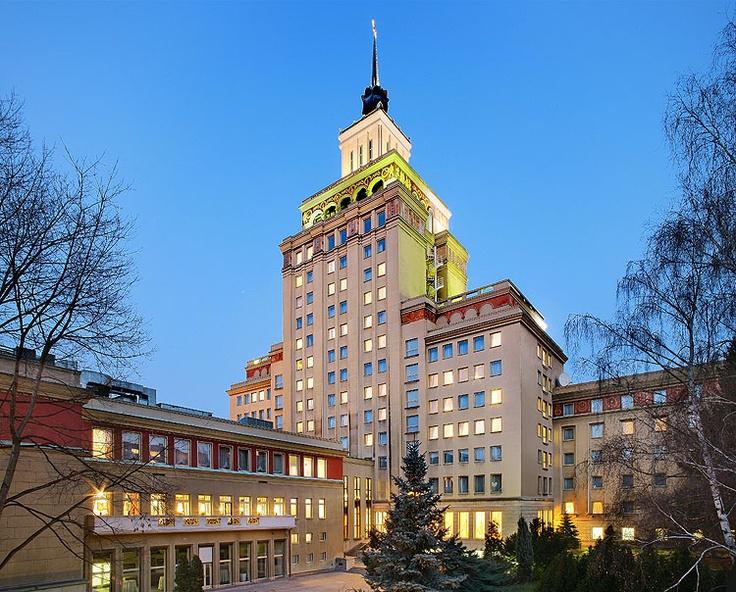 Rear view of the Crowne Plaza Prague hotel, taken from the hotel backyard garden