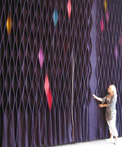 handmade decorating fabrics, purple felt wall decoration in contemporary style