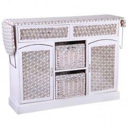 Mueble plancha madera blanco circulos muebles para - Mueble para guardar tabla de planchar ...