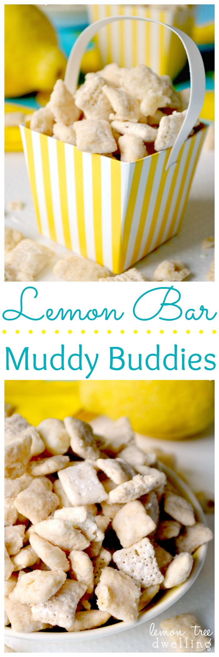 Lemon Bar Muddy Buddies. They taste just like real lemon bars!
