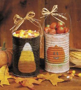 Recycle tin can into cute treat holders for Halloween.