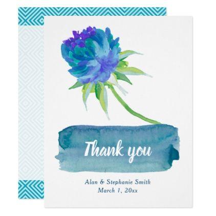 Elegant Watercolor Blue Floral Wedding Thank You Card - invitations custom unique diy personalize occasions