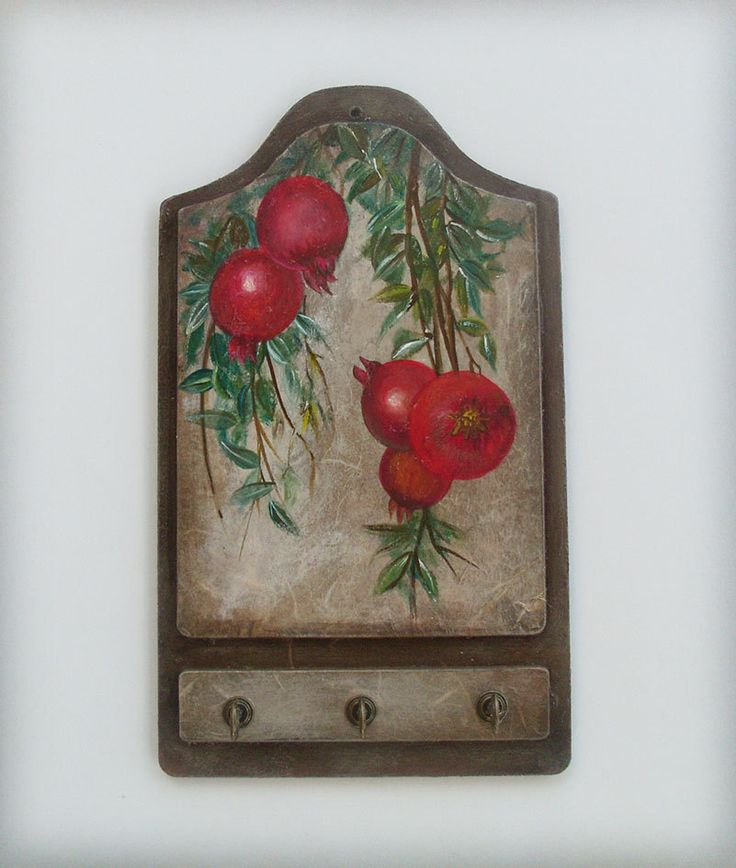 POMEGRANATES - Wooden Key Holder by allabouthandicraft on Etsy