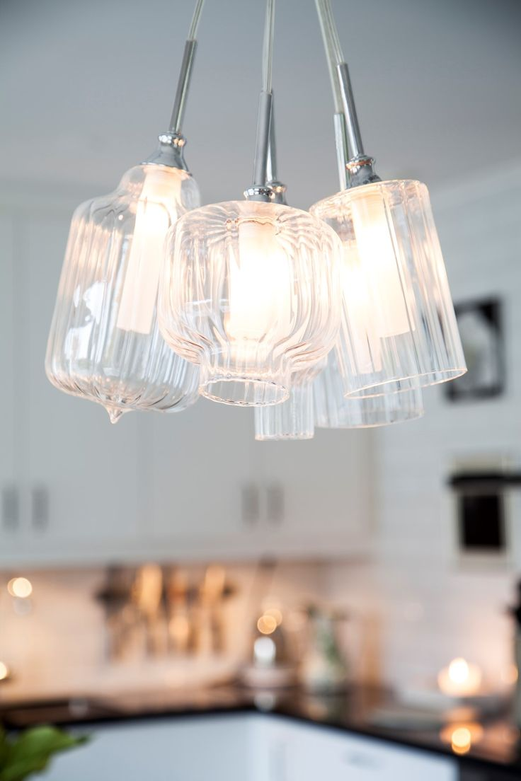 Chromed light fixture with glass shades  for kitchen. TROFEO