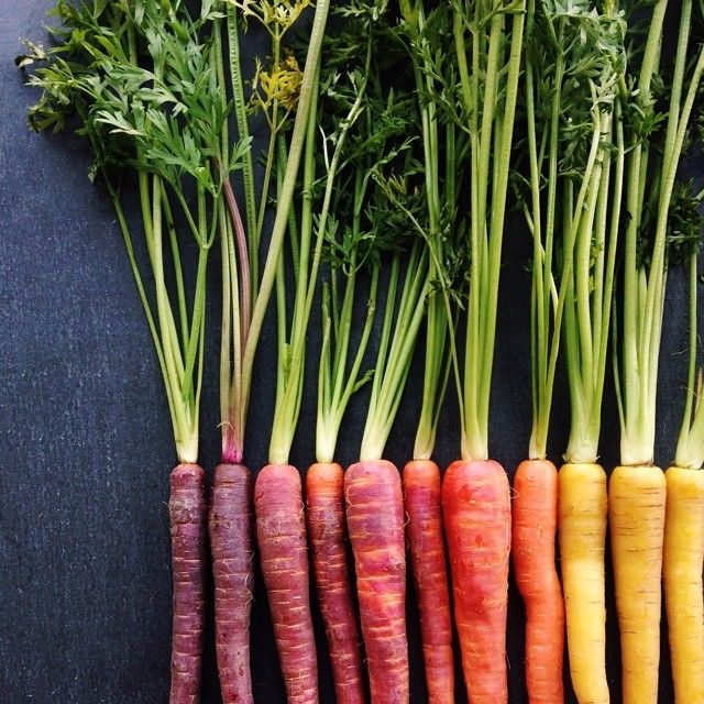 Colorful carrots arranged by color. Food photographer Brittany Wright knows likes to capture food properly — in rows sorted by size and color. Wright's Instagram account is filled with foods neatly & beautifully arranged in order.