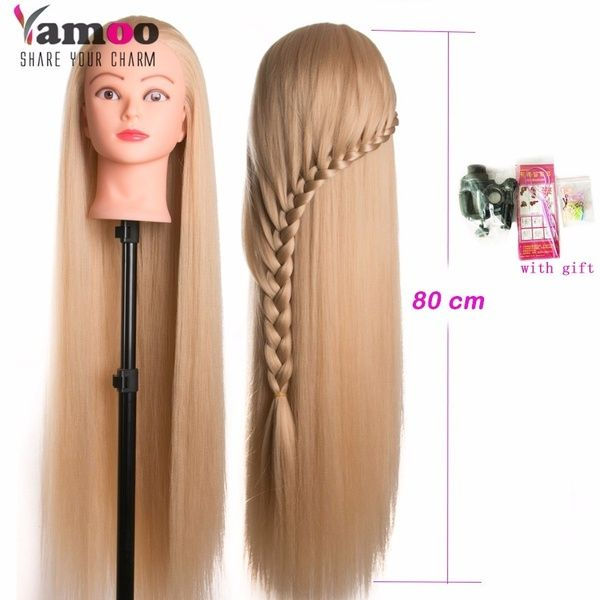 head dolls for hairdressers 80cm synthetic hair mannequin head hairstyles Female Mannequin Hairdressing Styling Training Head