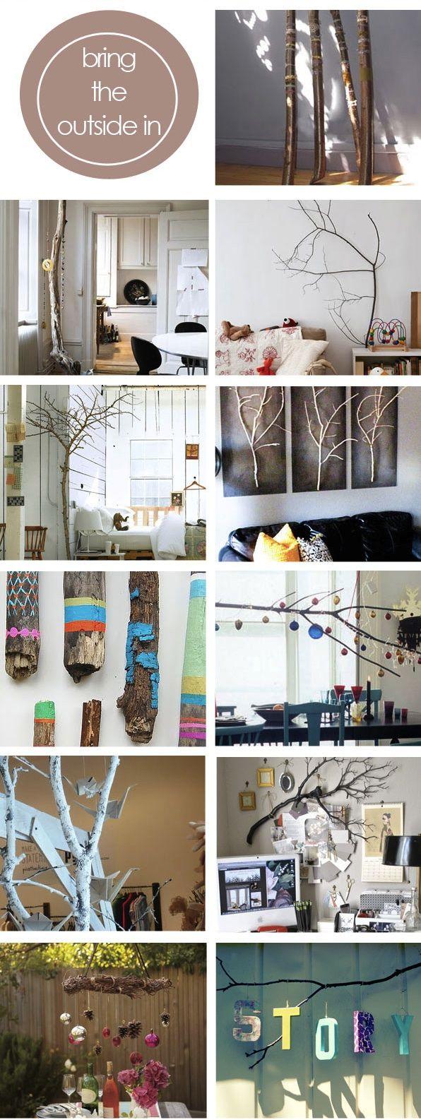 de jolies branches dans son intérieur - repurposing tree branches