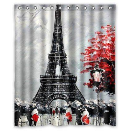 "60""(w) x 72""(h) --Special Design Paris Eiffel Tower Painting Pattern Waterproof Bathroom Shower Curtain,Bathroom decor"