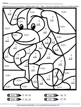 Math color Worksheets | Multiplication Worksheets - Basic Facts