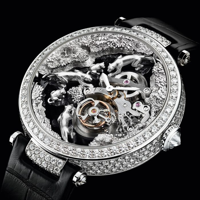 Microsculpture watches - Cartier rhodiumised white gold and diamond Microsculpture Scène Panthères with alligator strap