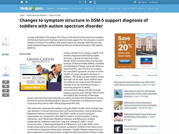 A study published in the August 2013 issue of the Journal of the American Academy of Child and Adolescent Psychiatry demonstrates support for the changes in autism symptom structure for toddlers with autism spectrum disorder (ASD found in the newly released Diagnostic and Statistical Manual of Mental Disorders, Fifth Edition (DSM-5)).